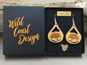 Huon Pine Echidna Earrings