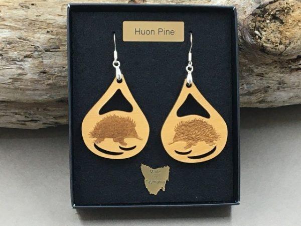 Huon Pine Echidna Earrings