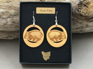 Huon Pine Wombat Earrings